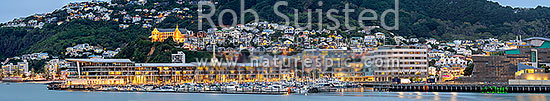 Wellington City panorama of houses perched on the Mount Victoria Roseneath hillside above the harbour and Oriental Bay, at twilight. St Gerards Monastry left. Panorama, Wellington, Wellington City District, Wellington Region, New Zealand (NZ) stock photo.