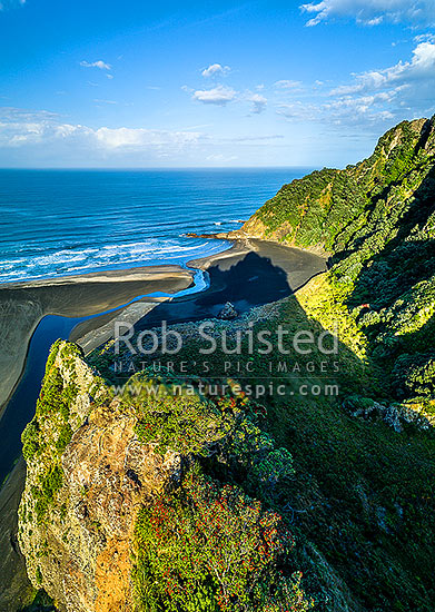 Karekare Beach, Karekare Stream and Union Bay, seen from above The Watchman. Farley Point beyond. Aerial view, Karekare Beach, Waitakere City District, Auckland Region, New Zealand (NZ) stock photo.