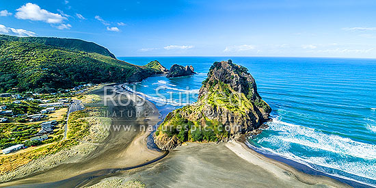 Piha Beach and iconic Lion Rock. Taitomo Island and Kaiwhare Point beyond. West Auckland, Waitakeres. Panorama, Piha Beach, Waitakere City District, Auckland Region, New Zealand (NZ) stock photo.
