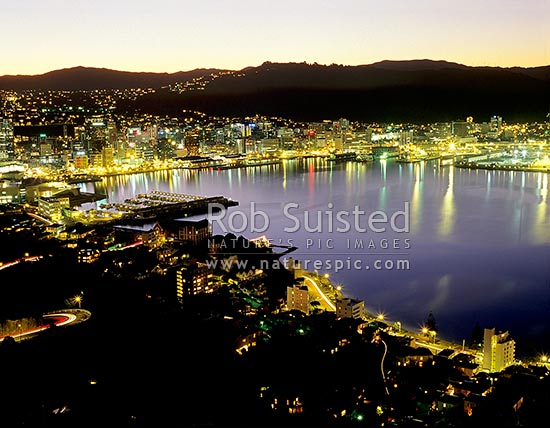 Wellington City and Harbour from Mount Victoria, by Night, Wellington, Wellington City District, Wellington Region, New Zealand (NZ) stock photo.