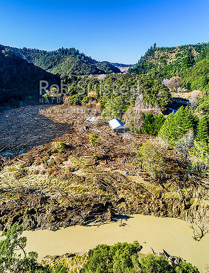 Tolaga Bay floods in June 2018 brought large amounts of forestry timber slash down Mangatokerau River, smashing Amber Kopua's 100 yr old house 30m off piles. Aerial view, note people for scale, Tolaga Bay, Gisborne District, Gisborne Region, New Zealand (NZ) stock photo.
