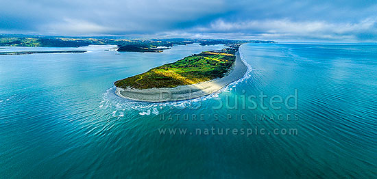 Ohiwa Harbour mouth, looking west over Port Ohope, towards Ohope Beach and Kohi Point distant right. Aerial panorama, Ohope, Bay of Plenty, Western Bay of Plenty District, Bay of Plenty Region, New Zealand (NZ) stock photo.