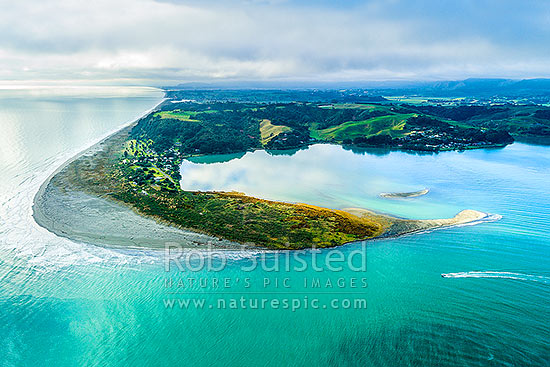 Ohiwa Harbour mouth, looking east over Ohiwa. Aerial view, with small boat crossing harbour bar, Ohope, Bay of Plenty, Western Bay of Plenty District, Bay of Plenty Region, New Zealand (NZ) stock photo.