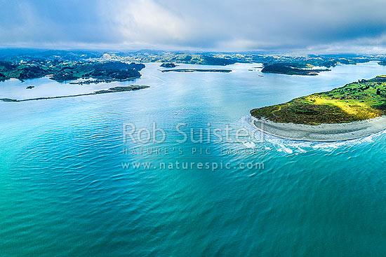 Ohiwa Harbour mouth. Aerial view with Whangakopikopiko Island left, Motuotu Island centre, and Uretara Island right, Ohope, Bay of Plenty, Western Bay of Plenty District, Bay of Plenty Region, New Zealand (NZ) stock photo.