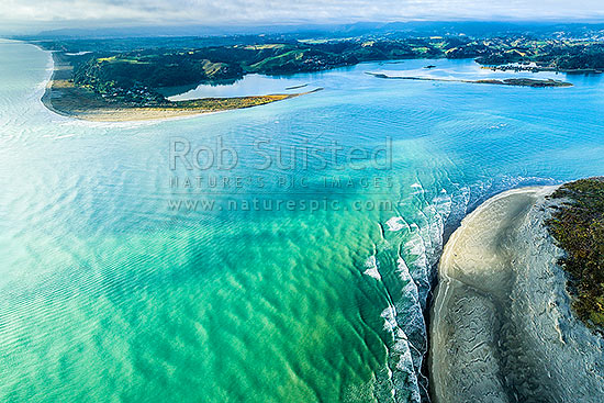 Ohiwa Harbour mouth, looking east over Ohiwa. Whangakopikopiko Island top right Aerial view, Ohope, Bay of Plenty, Western Bay of Plenty District, Bay of Plenty Region, New Zealand (NZ) stock photo.