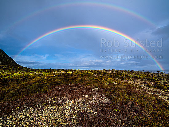 Double rainbow over Turakirae Head Scientific Reserve at Cape Turakirae, Turakirae Head, Hutt City District, Wellington Region, New Zealand (NZ) stock photo.
