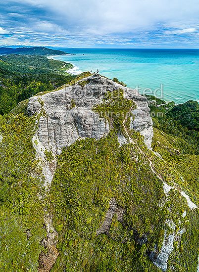 Mt George (320m) above the Rapahoe Coast and Motukiekie. Walkway with spectacular views south to Greymouth. Paparoa Range. Aerial view, Rapahoe, Grey District, West Coast Region, New Zealand (NZ) stock photo.