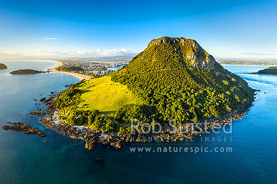 Mount Maunganui, or Mauao, at Tauranga Harbour Entrance. 231m high lava dome. Moturiki Island at left. Aerial view, Mount Maunganui, Tauranga District, Bay of Plenty Region, New Zealand (NZ) stock photo.