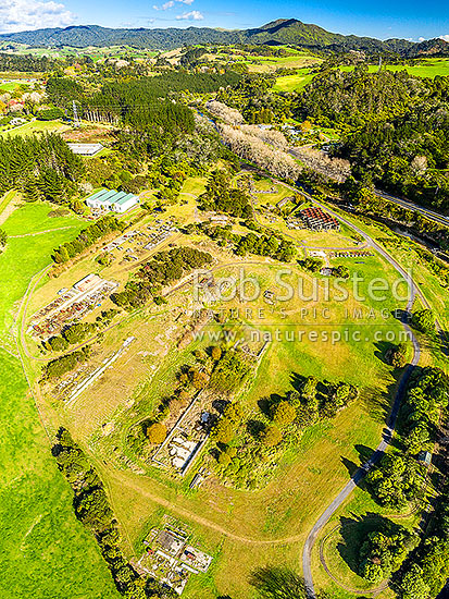 Historic old Victoria Gold Battery site remains and ruins. Once, the 10th biggest gold stamper battery in the world. Karangahake Gorge gold mining area. Aerial view, Waikino, Waihi, Hauraki District, Waikato Region, New Zealand (NZ) stock photo.