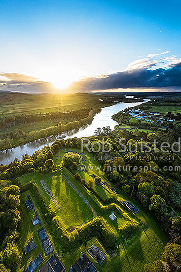 Alexandra Redoubt built by Colonel Wyatt and 65th regiment in 1863 during the NZ wars, above the Waikato River at Tuakau. Aerial view at sunset, Tuakau, Franklin District, Waikato Region, New Zealand (NZ) stock photo.