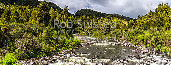 Whakapapa River in the Tongariro Conservation Area. Tongariro Forest. Panorama, Owhanga, Ruapehu District, Manawatu-Wanganui Region, New Zealand (NZ) stock photo.