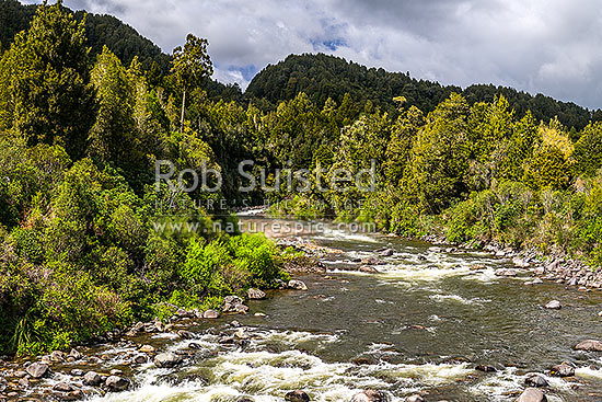 Whakapapa River in the Tongariro Conservation Area. Tongariro Forest, Owhanga, Ruapehu District, Manawatu-Wanganui Region, New Zealand (NZ) stock photo.