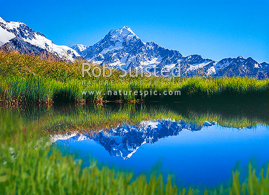 Summit of Mt Cook (3754m) reflected in Sealy Tarns; Sealy Range, Aoraki / Mount Cook N.P, MacKenzie District, Canterbury Region, New Zealand (NZ) stock photo.