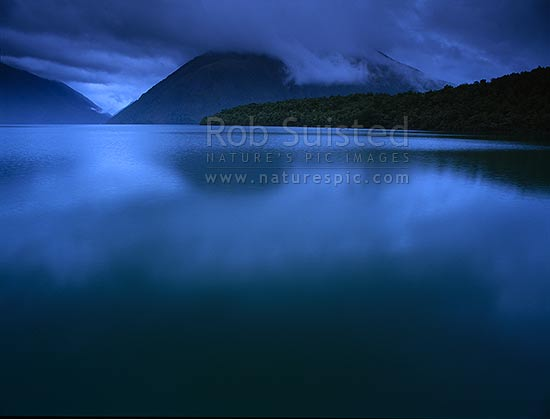 Looking up Lake Rotoiti from Kerr Bay towards Mt Robert and the Travers Valley, St Arnaud, Tasman District, Tasman Region, New Zealand (NZ) stock photo.