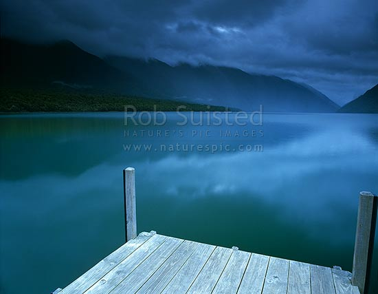 Looking up Lake Rotoiti from the Kerr Bay jetty, St Arnaud, Tasman District, Tasman Region, New Zealand (NZ) stock photo.