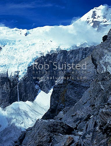 Mount (Mt) Sefton (3151m) above the Douglas Neve and Glacier, Douglas River, Westland District, New Zealand (NZ) stock photo.