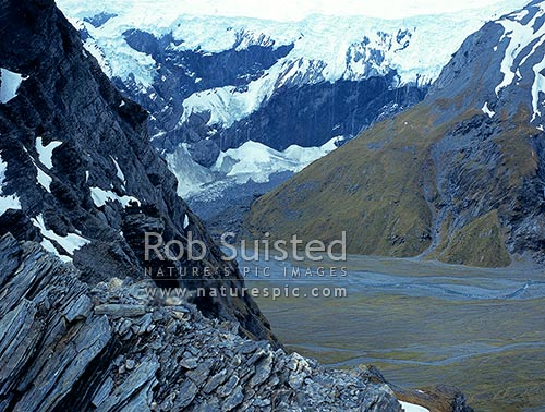 Harper's Rock flat from the Douglas Saddle. Douglas Neve and icefalls beyond, Douglas River, Westland District, West Coast Region, New Zealand (NZ) stock photo.