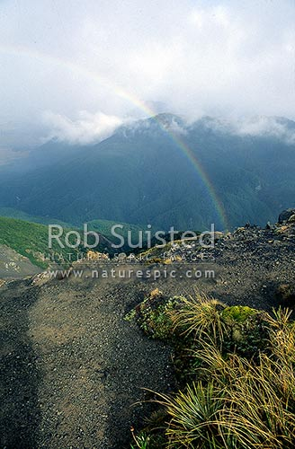 Rainbow over the Andrews Stream, Canterbury, Arthur's Pass National Park, Selwyn District, Canterbury Region, New Zealand (NZ) stock photo.