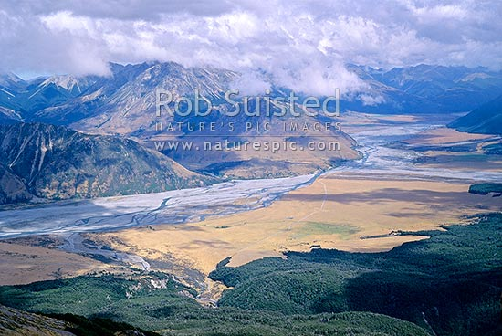 Overlooking the Waimakariri River from above the Andrews Stream, Canterbury. Braided River, Arthur's Pass National Park, Selwyn District, Canterbury Region, New Zealand (NZ) stock photo.