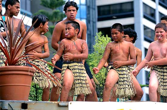 Nga Pauwai Maori Cultural Group performing at Waitangi Day celebrations, Wellington, Wellington City District, Wellington Region, New Zealand (NZ) stock photo.