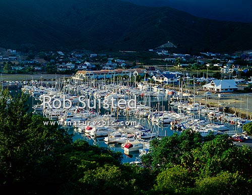 Waikawa Bay marina, Marlborough Sounds, Picton, Picton, Marlborough District, Marlborough Region, New Zealand (NZ) stock photo.