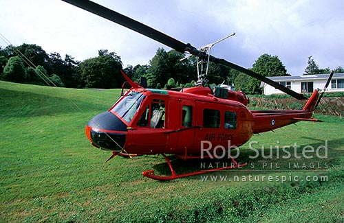 Landed RNZAF Iroquois helicopter in search and rescue exercise near Te Urewera National Park, Te Urewera National Park, Wairoa District, Hawke's Bay Region, New Zealand (NZ) stock photo.