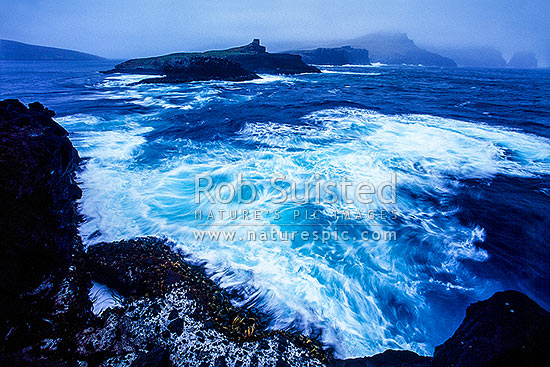 Breaksea Point, Carnley Harbour. Monument Is., Victoria Passage and Adams Is beyond, Auckland Islands, NZ Sub Antarctic District, NZ Sub Antarctic Region, New Zealand (NZ) stock photo.