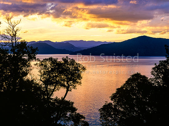Sundown over Lake Waikaremoana; from Whaitiri Point, Te Urewera National Park, Wairoa District, Hawke's Bay Region, New Zealand (NZ) stock photo.